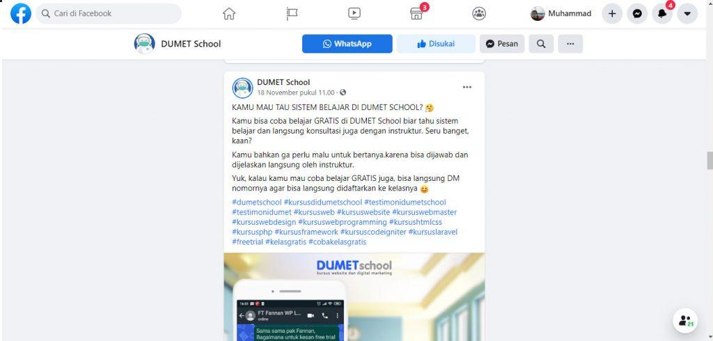 facebook dumetschool belajar digital marketing