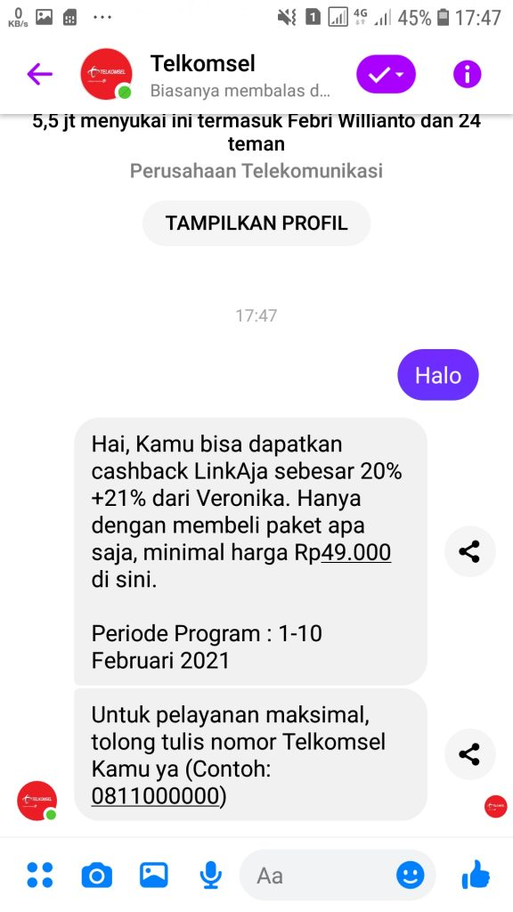 tanya veronika asisten virtual di facebook messenger